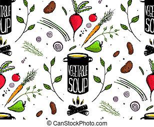 vegetal, patrón, cocina, seamless, sopa