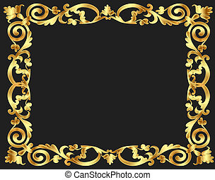 vegetal, patrón, marco, plano de fondo, oro