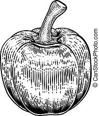vegetal, pimienta, woodcut, ilustración, campana