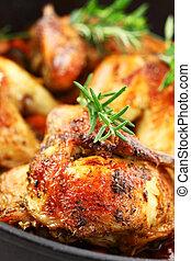 vegetal, pollo, asado