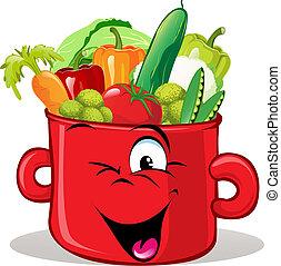 vegetal, pote, cheio