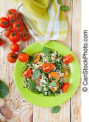 vegetal, risotto, com, manjericão, folhas, vista superior