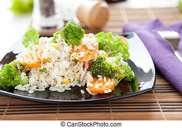 vegetal, risotto, ligado, um, quadrado, prato