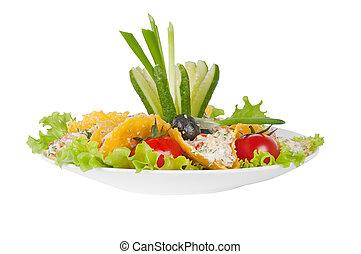 vegetal, salada, em, queijo, crisps