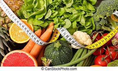 vegetal, seleção, caloria, fruta, baixo