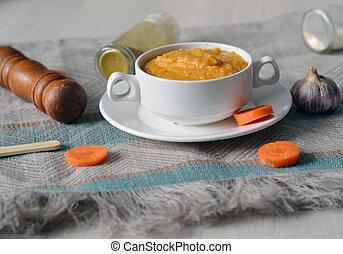 vegetal, sopa, caliente, zanahoria, sabroso