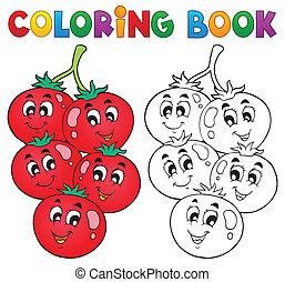 vegetal, tema, libro colorear, 3