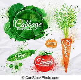 vegetales, acuarela, col, zanahoria, tomate, guisantes