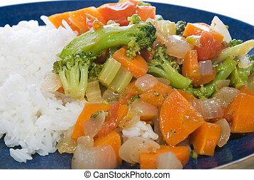 vegetales, arroz, bata frito