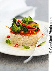 vegetales, arroz, cocido al vapor