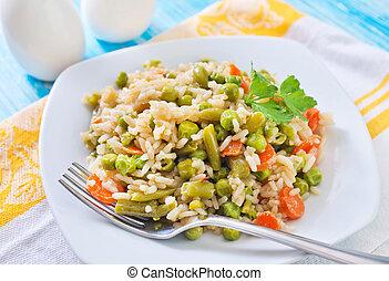 vegetales, arroz