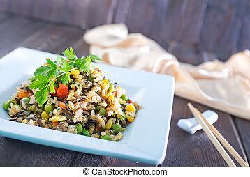 vegetales, arroz, frito