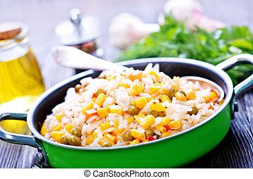 vegetales, arroz, hervido