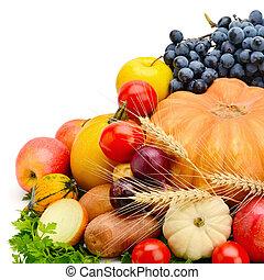 vegetales, blanco, aislado, plano de fondo, fruits