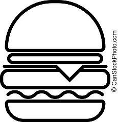vegetales, bollos, ilustración, ensalada, símbolo, hamburger...