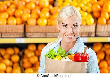 vegetales, bolsa, papel, manos, fresco, niña