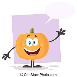 vegetales, carácter, ondulación, naranja, emoji, caricatura, calabaza
