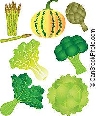 vegetales, conjunto, 2, ilustración, aislado, blanco, plano...