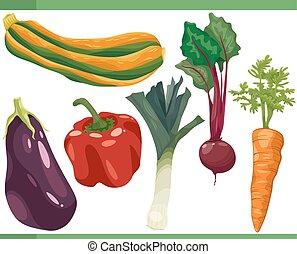 vegetales, conjunto, caricatura, ilustración