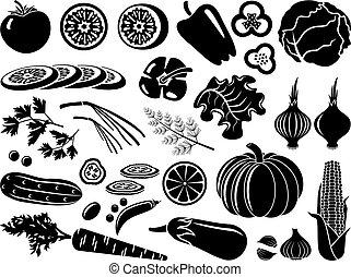 vegetales, conjunto, iconos
