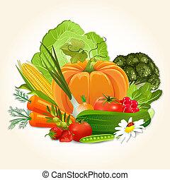 vegetales, diseño, jugoso, su