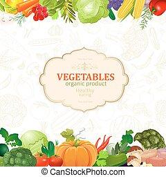 vegetales, diseño, plantilla, frontera, su, tarjeta