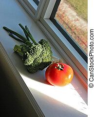 vegetales, en, alféizar