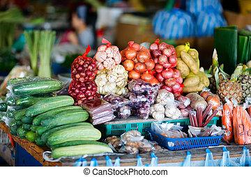 vegetales, en, mercado, en, malasia
