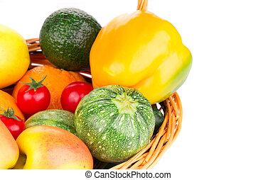 vegetales, en, mimbre, basket.