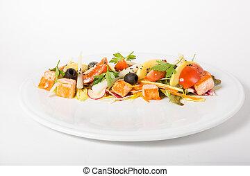 vegetales, ensalada, con, salmón