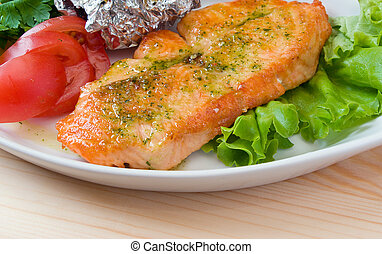 vegetales, estaca, salmón, closeup.