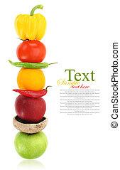 vegetales, fila, fruits