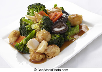 vegetales, frito, conmoción