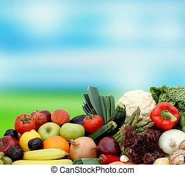vegetales, fruta, plano de fondo, confuso