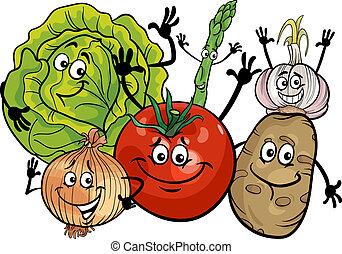 vegetales, grupo, caricatura, ilustración