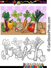 vegetales, grupo, ilustración, para, colorido
