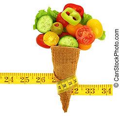 vegetales, hielo, cinta, cono, medida, mezclado, fresco, crema