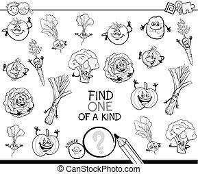 vegetales, juego, color, uno, clase, libro