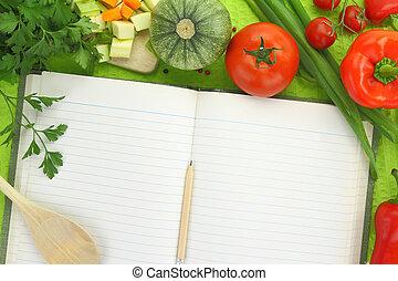 vegetales, libro, receta, blanco
