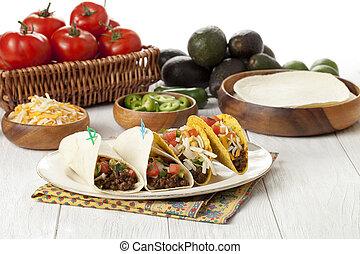 vegetales, mexicano,  Tacos