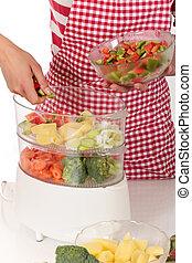 vegetales, mujer, cocina