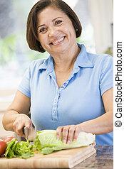 vegetales, mujer, cortar