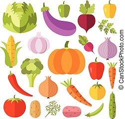 vegetales, plano, iconos, conjunto