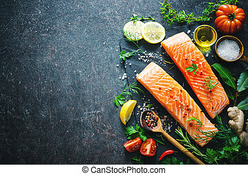 vegetales, salmón, filete, aromático, hierbas, fresco,...