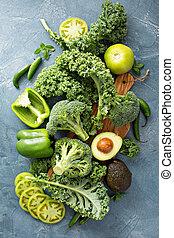 vegetales, verde, variedad