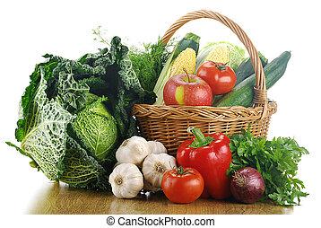 vegetales, y, cesta de mimbre