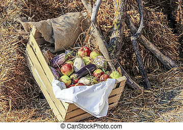 vegetales, y, fruits, en, un, cesta