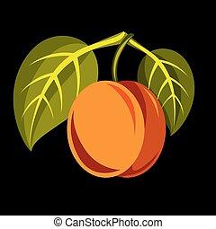 vegetarián, organický food, jednoduchý, ilustrace, vektor, zralý, pomeranč, donášet, s, mladický list, isolated., celek, ovoce, zdravý chutnat jak, ikona