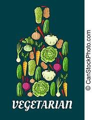vegetarián, znak, s, čerstvá zelenina
