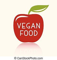 vegetariër, badge, of, vegan